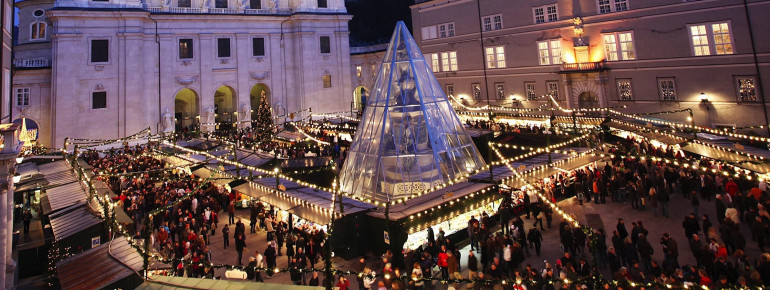 The Christkindlmarkt on the Domplatz of Salzburg