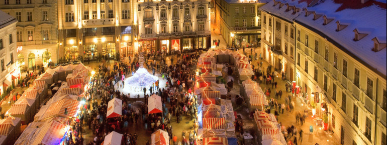 The market places are traditionally lit by thousands of lights during Christmas time.