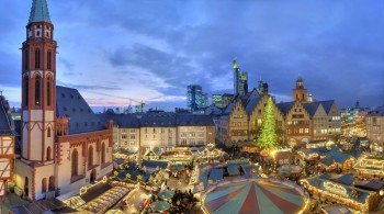Frankfurt's Christmas market is surrounded by a beautiful historical scenery