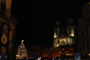 The Astronomical Clock, the Christmas tree, and famous Týn Church.