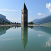 The church tower stands near the village of Graun up to 7 meters deep in the water of Lake Reschen.