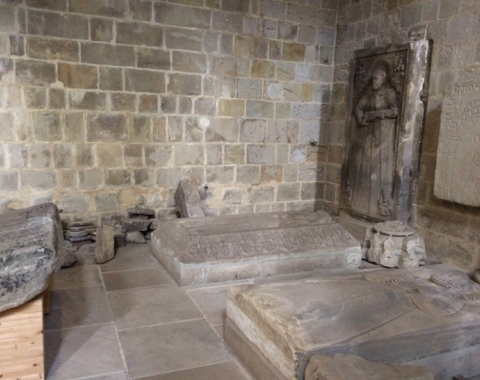 Relief slabs inside the church