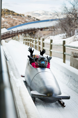 On the Comet Bobsled you race down the track at over 100 km/h.