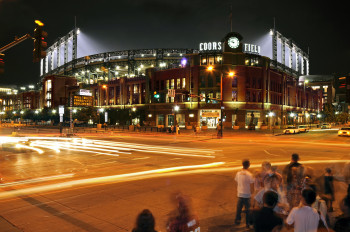 Coors Field at night in Denver's Lower Downtown neighborhood, two blocks from Union Station.