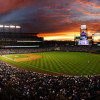 Coors Field, one of the top five hitters' parks, at sunset. it holds more than 50.300 fans.
