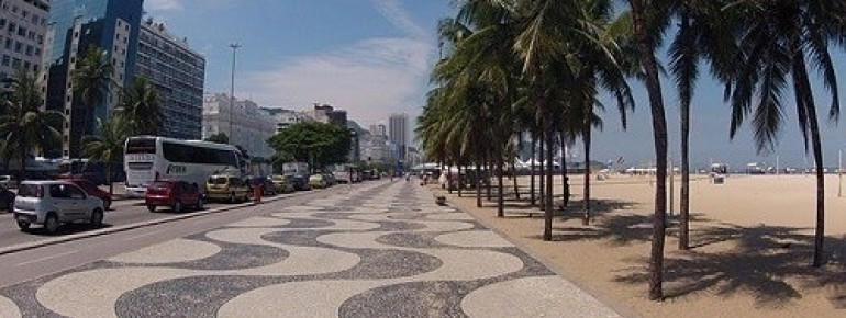 The beautiful wave-shaped beach promenade of Copacabana