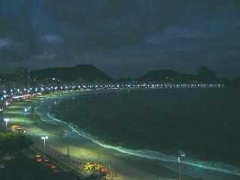 The marvellously illuminated Copacabana by night