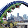 Tourists riding the Brain Drain at Elitch Gardens Theme & Water Park.