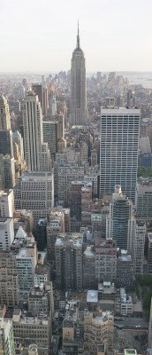 A panorama-view onto the Empire State Building