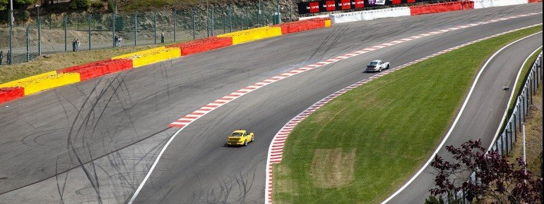 """""""Eau Rouge"""" curve with the new run-off area"""