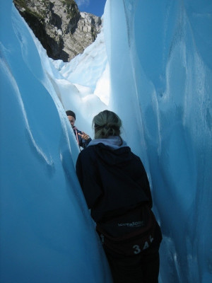 Hiking through a crevasse