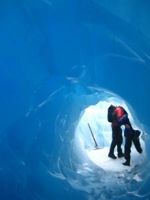Blue ice tunnel