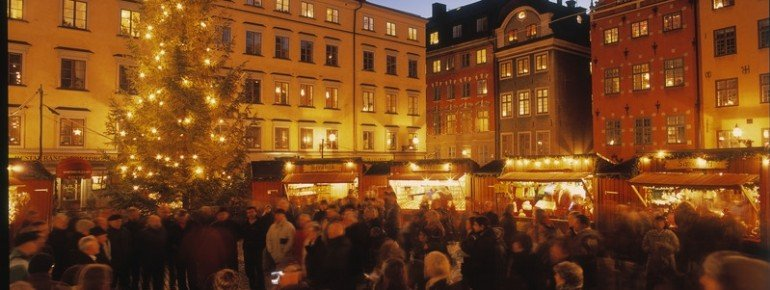 Gamla Stan Christmas Market on Stortorget Square in Stockholm