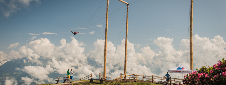 View of the giant swing located atop Mount Kronplatz: Not for the faint-hearted.