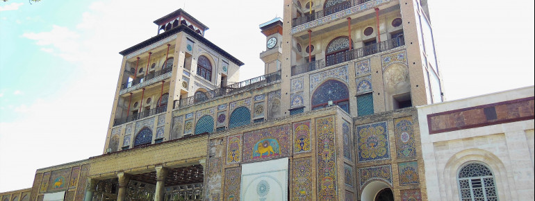 Golestan Palace's exterior is covered in tiled mosaics.