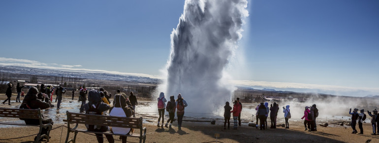 The white pillar of Strokkur geyser.