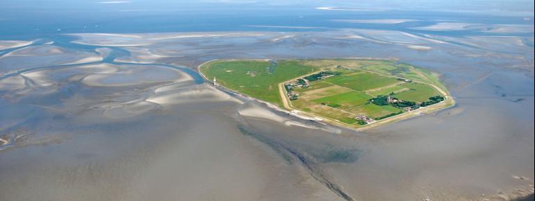 View of Neuwerk Island in the Hamburg Wadden Sea.