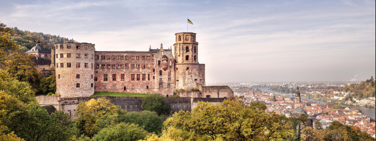 The castle is enthroned above the city of Heidelberg.