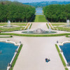 View from the palace to the park. In the back you can see the shore of the Chiemsee lake.