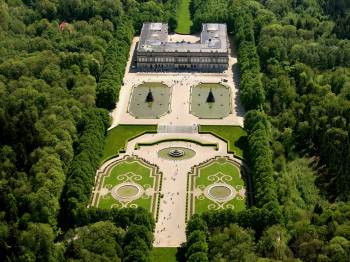 An aerial view of the Herrenchiemsee complex.