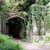 View of the entrance to Egyptian Avenue on Highgate Cemetery.