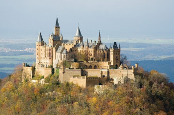 The Hohenzollern Castle sits on a 855 meter hilltop.