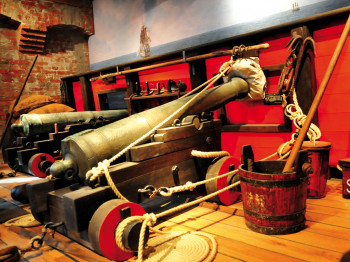 Historic cannons on the pirate deck.