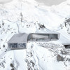 At 3,050 metres above sea level, a 1,300 square metre two storey building is constructed partly inside of the mountain.