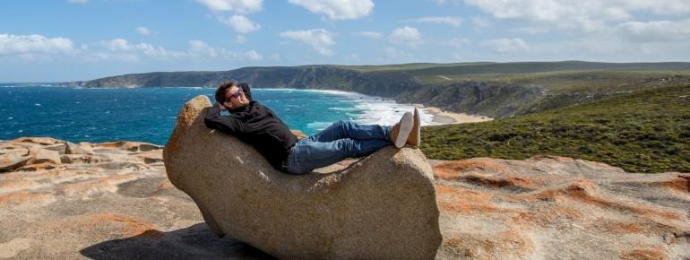 Relaxing and Sunbathing on Remarkable Rock Formations, Kangaroo Island, SA 2014