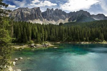Lake Carezza with the Latemar mountain range