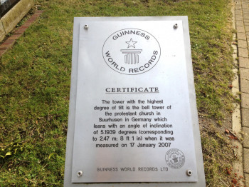 The Guiness World Records certificate is placed on-site.
