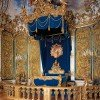 The famous blue bedroom in Linderhof Palace.
