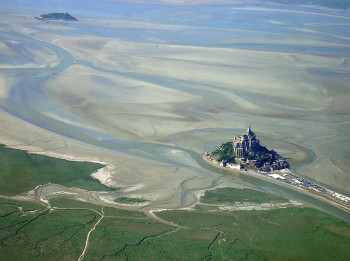 Mont Saint-Michel looked at low tide from above