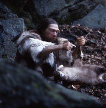 Hunter working his prey
