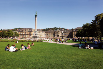 Palace square is partly green and a popular meeting point for the people of Stuttgart.