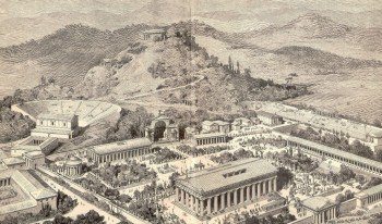 A drawing of ancient Olympia