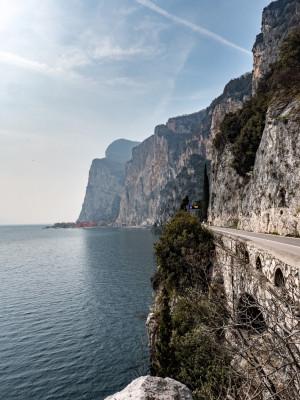 Rugged rocks right above Lake Garda.