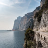 Rugged rocks right above Lake Garda.