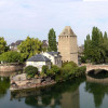 A panorama view of the Ill canals and cascades of Strasbourg