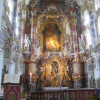 The lavish interior decoration of the Wieskirche is a masterpiece of the Rococo period.