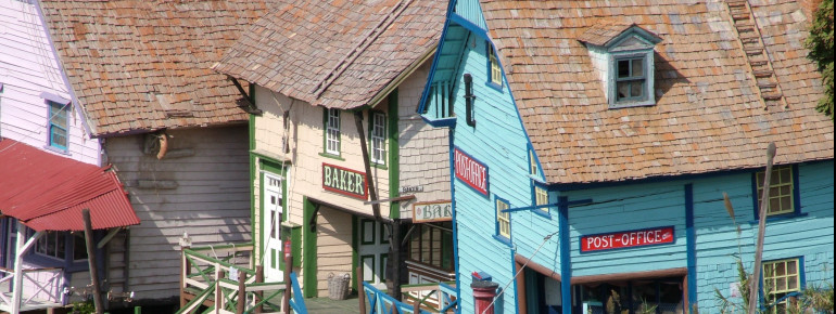 Bakery, post office, and many more - the fictional village cosists of 19 wooden structures.