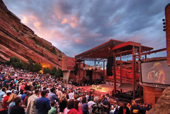 View of the stage at Red Rocks Amphitheatre. Numerous concerts are given here every year.