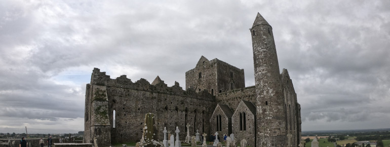 The oldest and tallest building on the Rock of Cashel is the round tower.