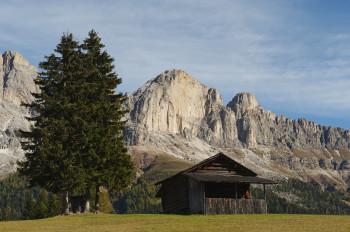 Catinaccio with alpine hut