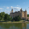 Schwerin Castle is located on a small island in the Schwerin lake.