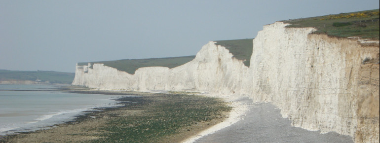 The Seven Sisters are located at England's southern coast in Sussex