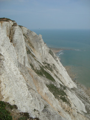 The chalk cliffs overlook the English Channel.