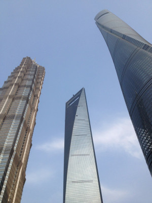 Shanghai Tower forms part of an group of three skyscrapers.