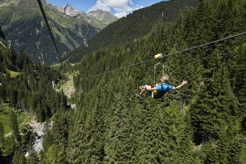 Enjoying the scenic views from Ischgl Skyfly. The two-kilometre long Flying Fox, being installed 50m above ground level, gets you down into the valley in no time.