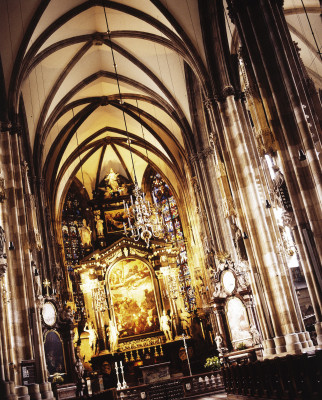 The cathedral's interior features romanesque, gothic, and baroque architecture.